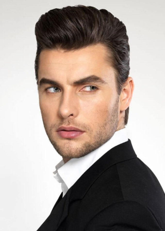 basic pompadour 1950's men's hairstyle