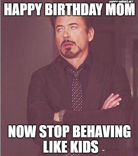 sarcastic happy birthday mom meme