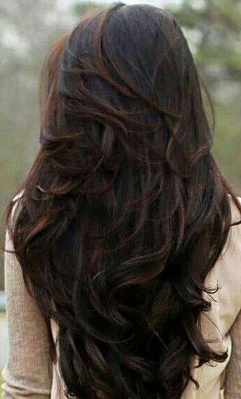 v shape long hair with layers