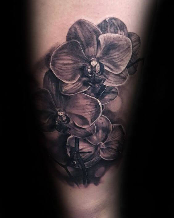 3d black ink orchid flower tattoo on arm