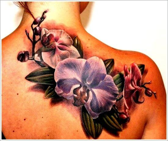 3d orchid flowers tattoo design on back for females