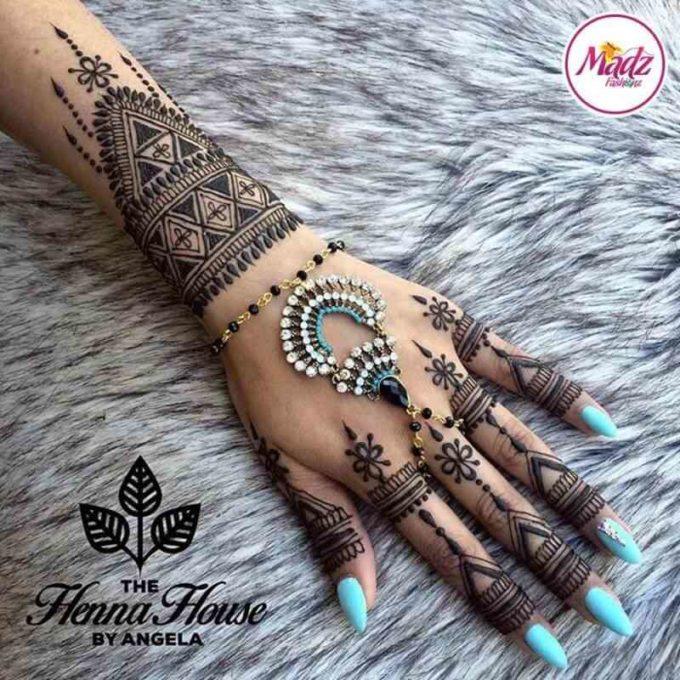 arabic bridal bracelet mehndi design