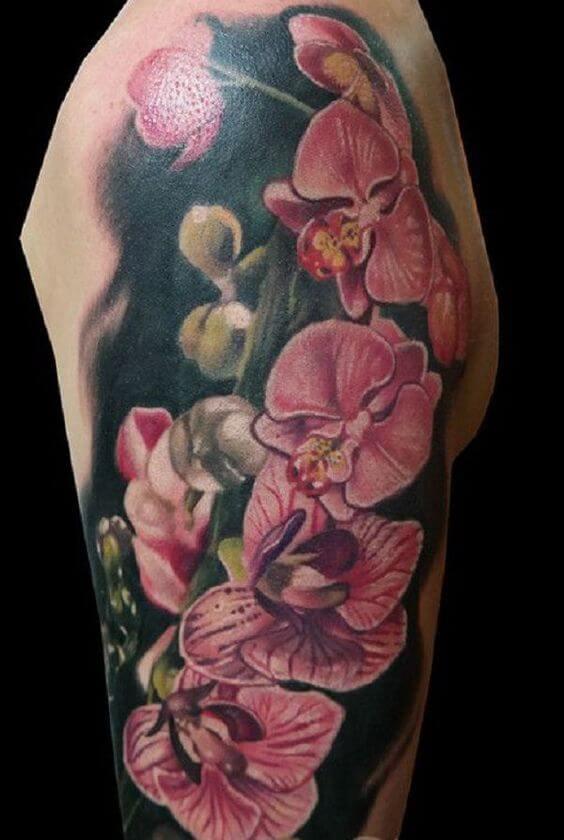 beautiful orchid flower tattoo on sleeve