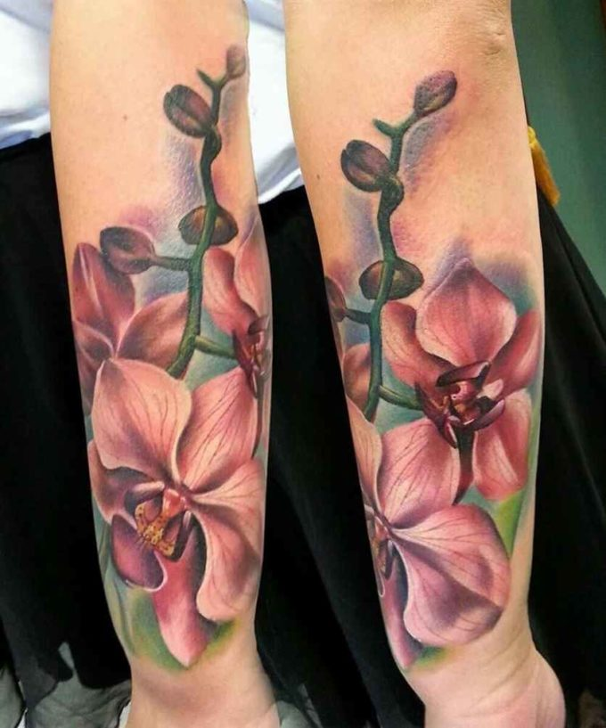 big colorful orchid flower tattoo design