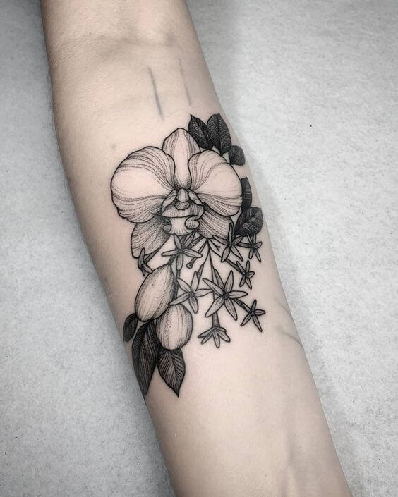 black and grey monochrome orchid flower tattoo