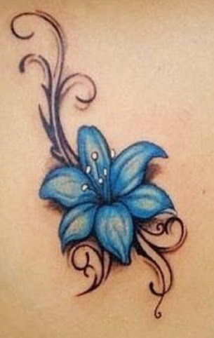 blue color tribal jasmine flower tattoo design