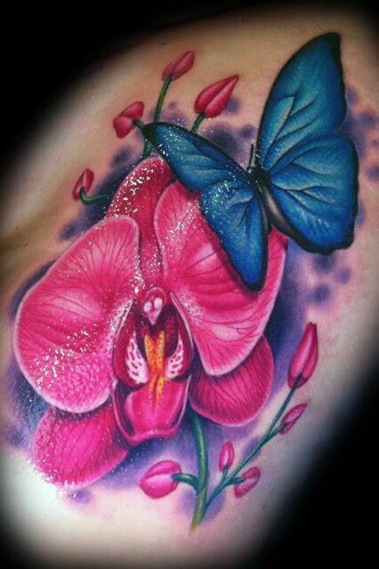 butterfly with orchid flower tattoo