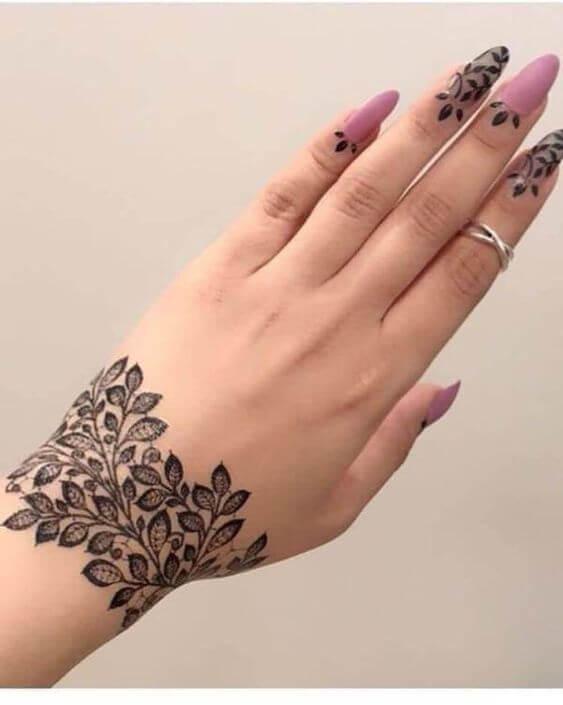 floral leaf bracelet mehndi design