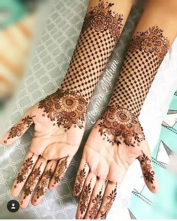 flower net bracelet mehndi design