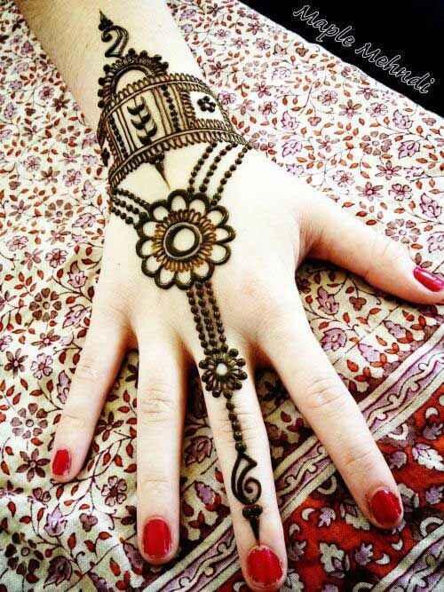 flower ring chain bracelet mehndi design