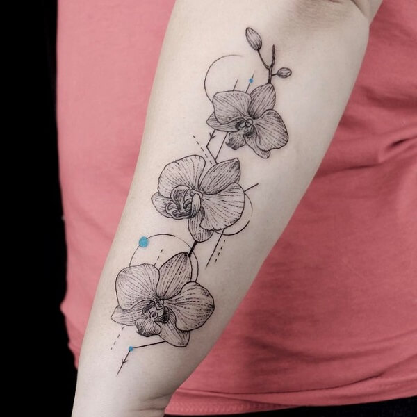 geometric outlined orchid flower tattoo design on side arm