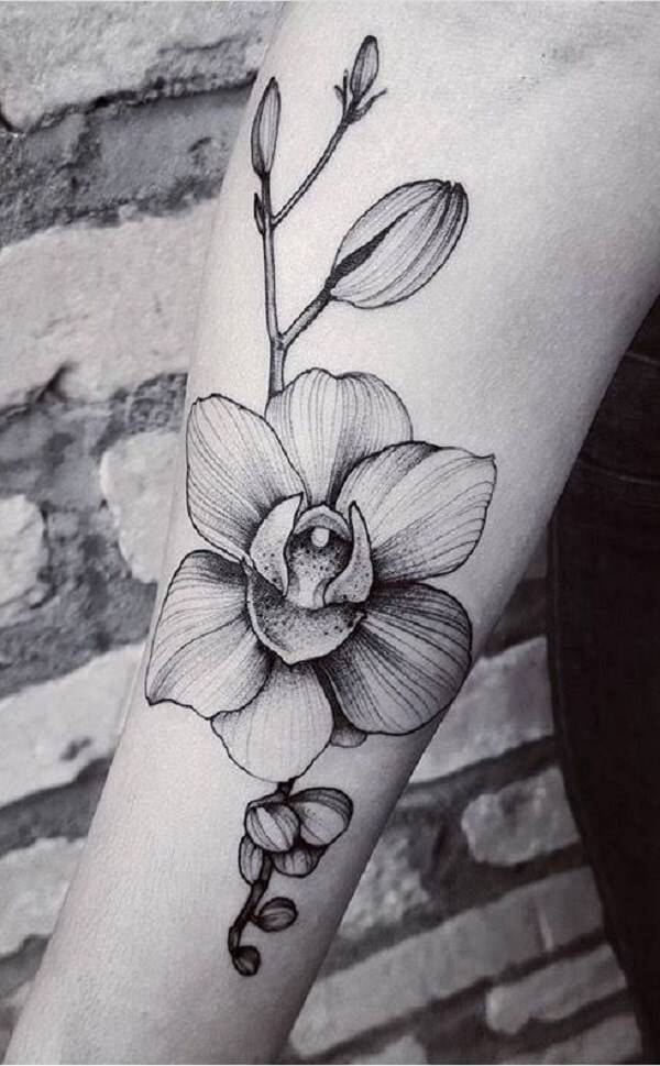 grey monochrome orchid flower tattoo on arm