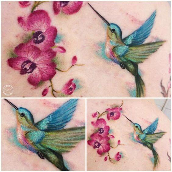 hummingbird with orchid flowers tattoo