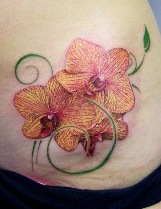 orchid flower tattoo design on side stomach