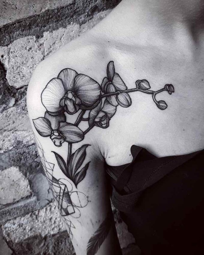 orchid tattoo on shoulder
