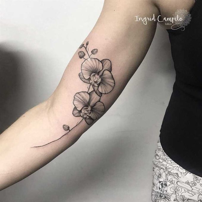 pretty outlined orchid flower tattoo design on arm