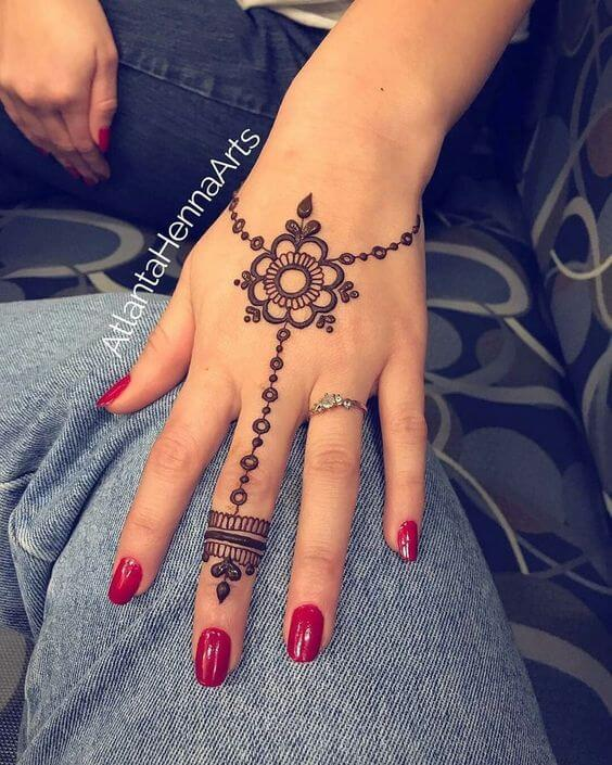 simple flower chain ring bracelet mehndi design