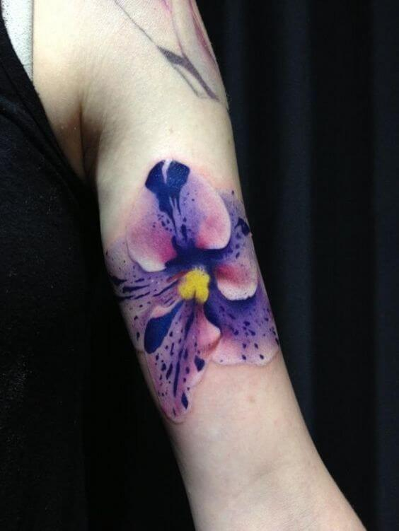 single realistic orchid flower tattoo design