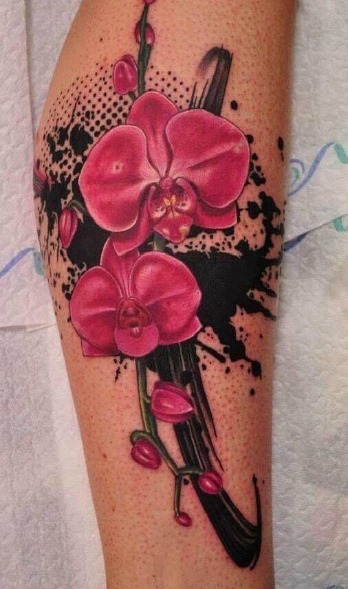 watercolor orchid flower tattoo design on leg