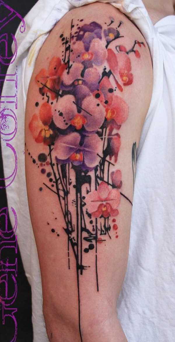 watercolor orchid flowers tattoo on half sleeve