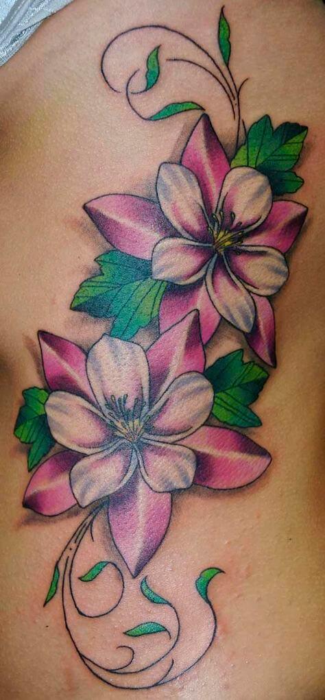 3d jasmine flower tattoo design on thigh