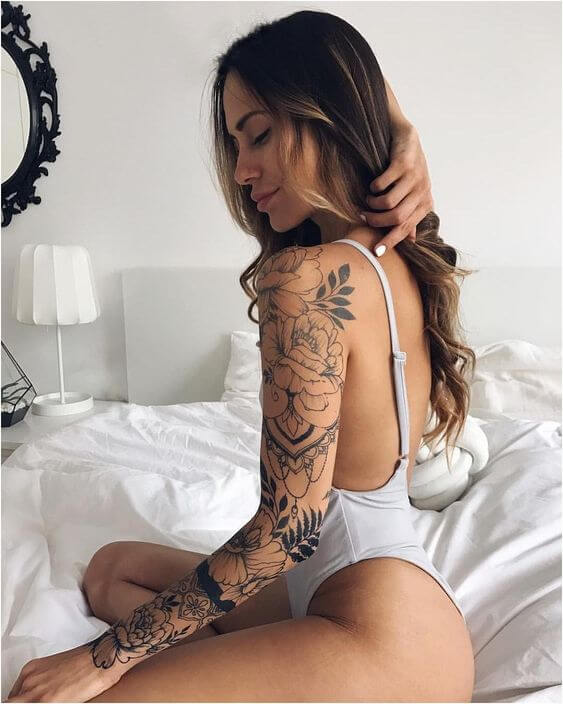 full sleeve jasmine floral tattoo design for females