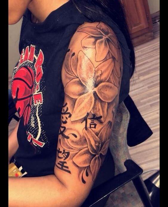 half sleeve jasmine flowers tattoo design