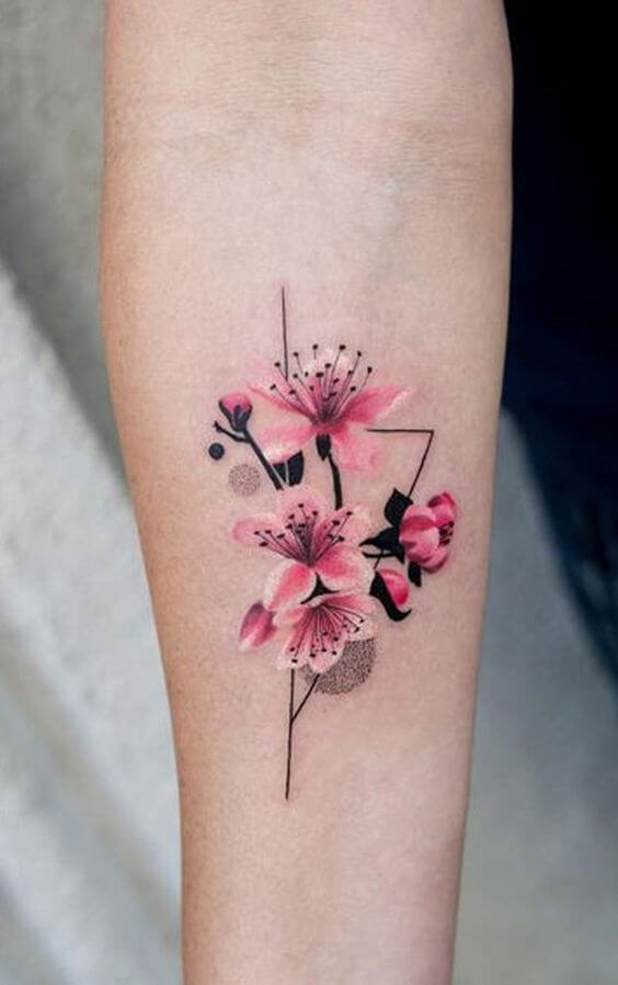 pink jasmine flower tattoo design on forearm