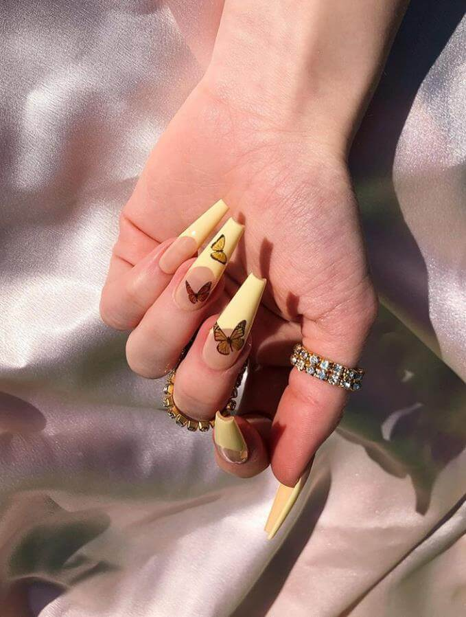beautiful butterfly long coffin nails 2020