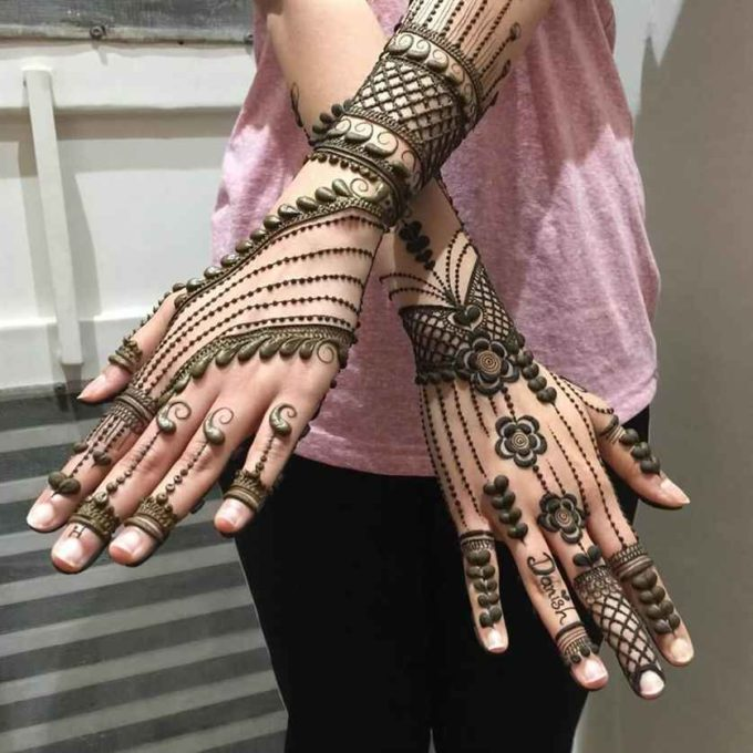 traditional full hand floral chain mehndi design