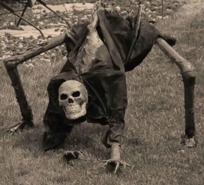 creepy halloween skeleton decoration idea for garden