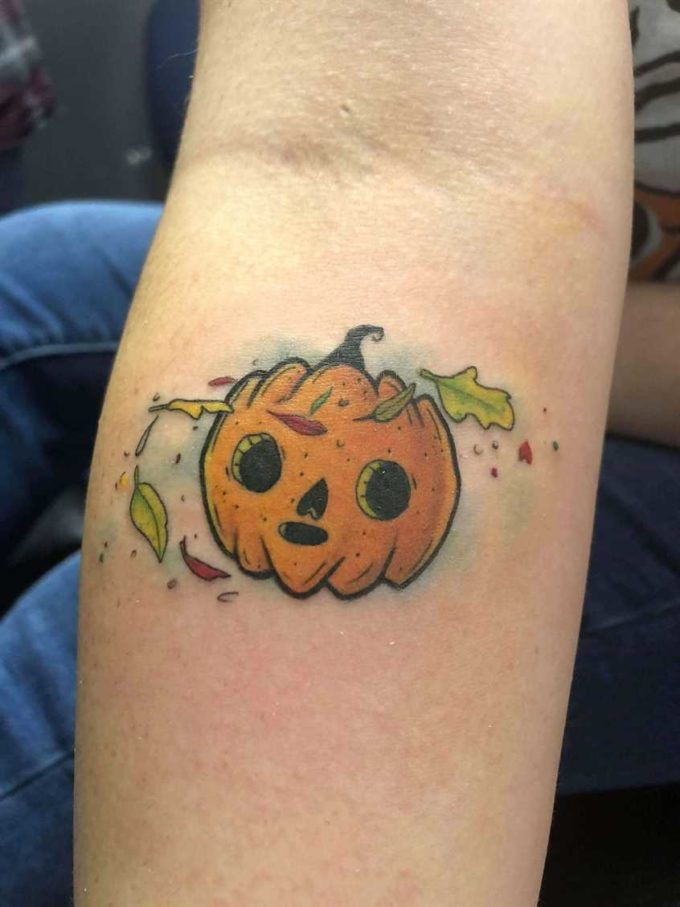 fall halloween pumpkin tattoo design