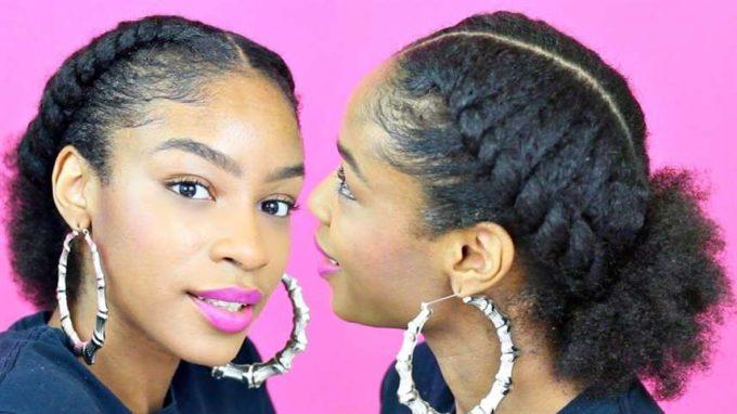 flat twist natural ponytail hairstyle