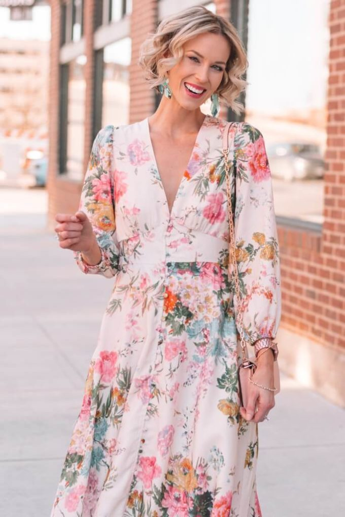 formal floral print dress outfit with short hair