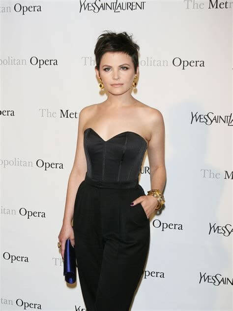 ginnifer goodwin off shoulder outfit with short hair