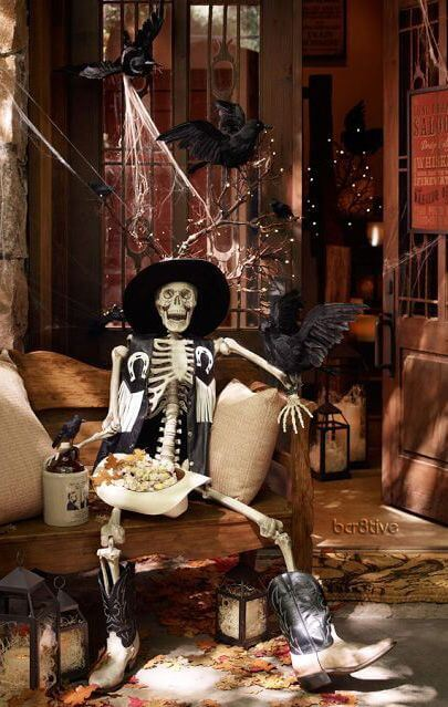 halloween cowboy skeleton decoration idea