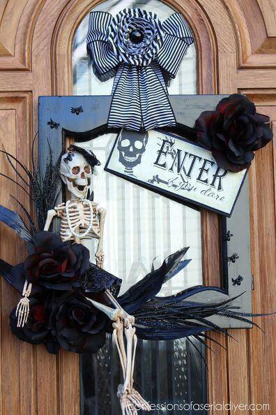 halloween door wreath skeleton decor idea