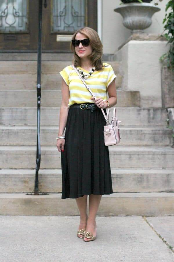 knee length skirt outfit with short hair