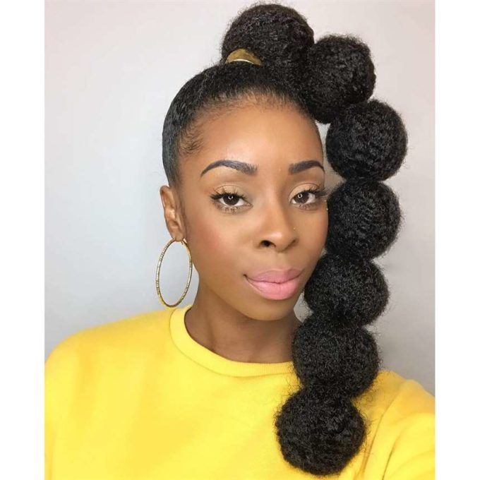 natural bubble ponytail hairstyle