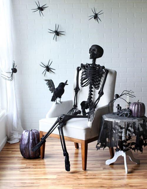 scary indoor halloween skeleton decoration idea