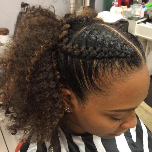 simple braided ponytail hairstyle