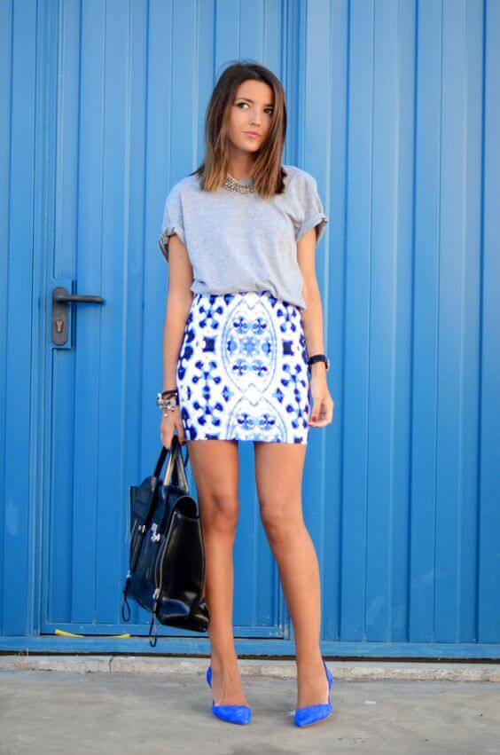 sprint mini skirt outfit with short hair