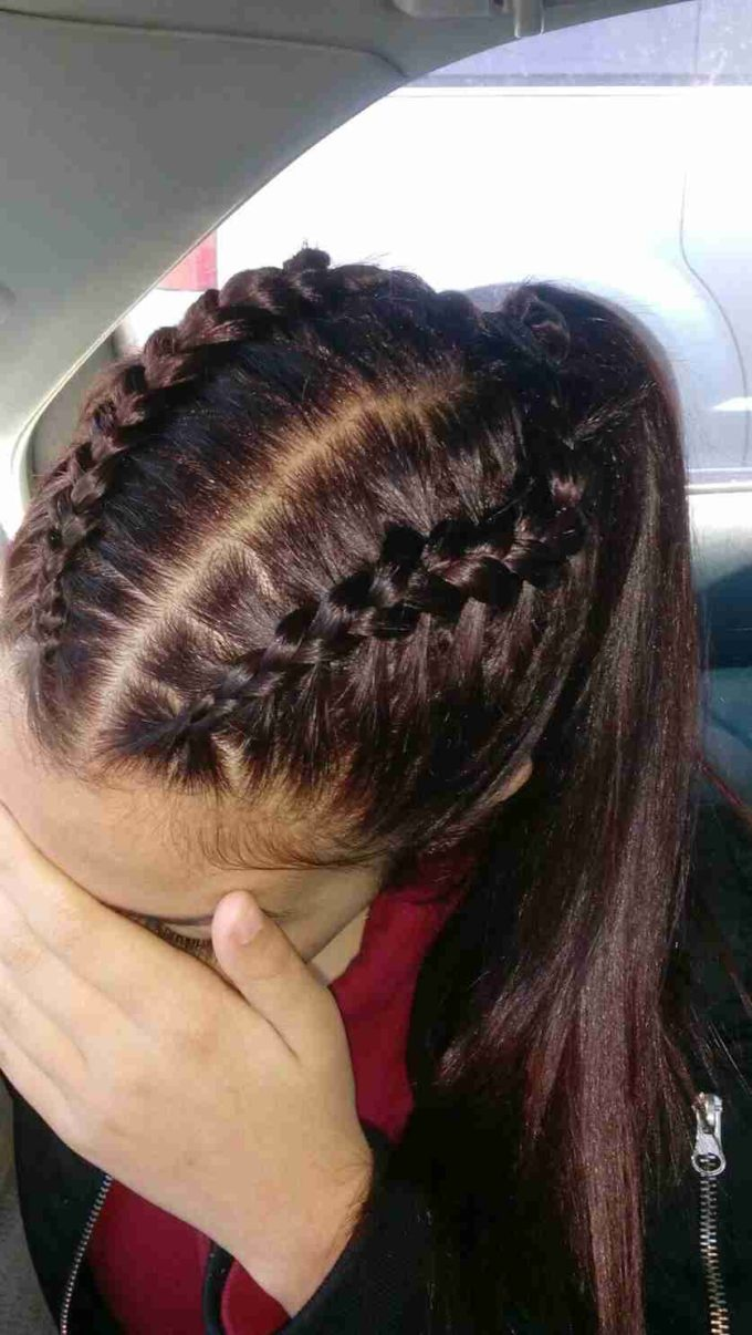 two braids high ponytail hairstyle
