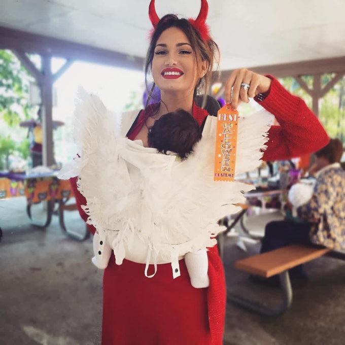 angel baby carrier halloween costume idea