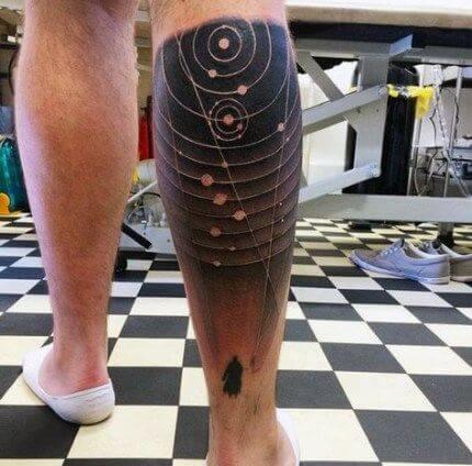 astronomy tattoo idea on back leg