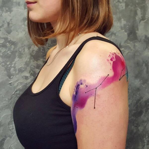 constellation astronomy tattoo design on shoulder