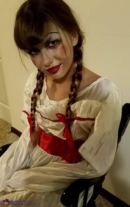 scary diy annabelle doll halloween costume idea
