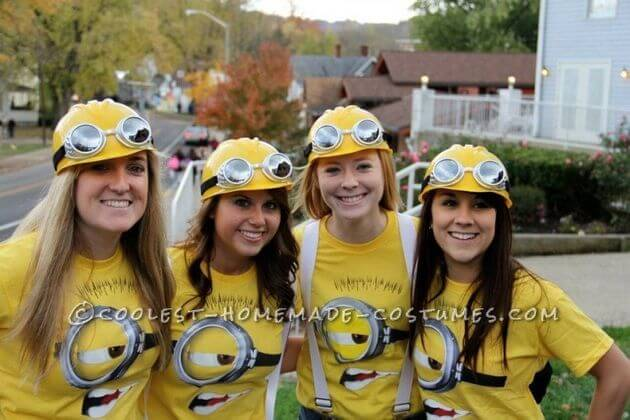diy minions group halloween costume ideas for 4 girls