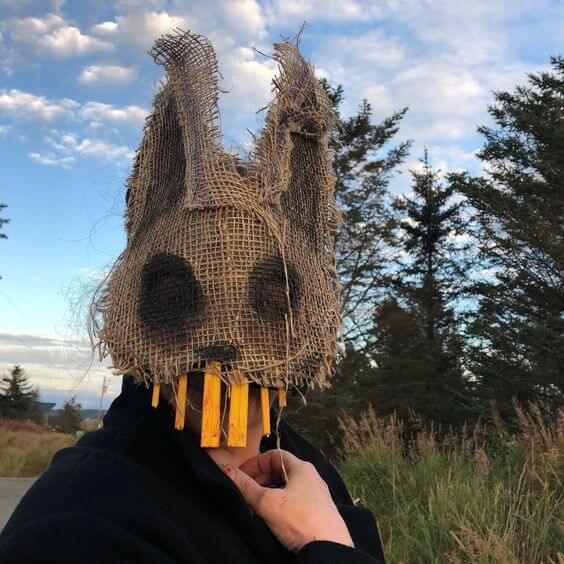 creepy diy rabbit mask halloween costume idea