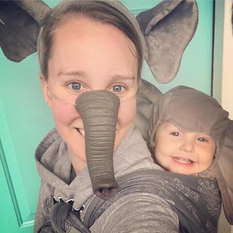 elephant baby carrier halloween costume idea